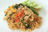 Stir Fried Rice With Basil, Chili And Pork