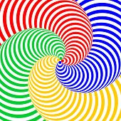 Design Colorful Swirl Circular Movement Illusion Background. Abstract Strip Distortion Backdrop