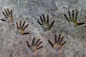 Handprints On The Stone Surface