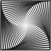 Design Monochrome Twirl Movement Square Geometric Background. Abstract Strip Torsion Backdrop