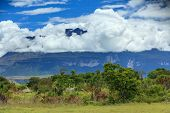 Clouds over Tepui Mountain and the Venezuelan Jungle