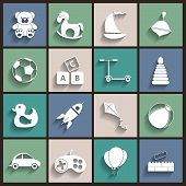 Toys Vector Flat Retro Icons