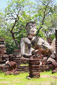 stock photo of pee  - Phra Sam Pee Nong Phra Kaeo temple Kamphaengphet Historical Park Kamphaengphet - JPG