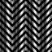 Optical illusion with metal bars and zig zag lines