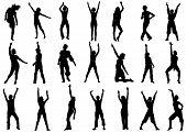 Dancing girls in action vector illustration