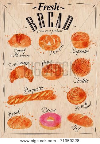 Постер, плакат: Bread products poster kraft, холст на подрамнике