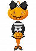 Halloween trick or treating girl in Halloween pumpkin costume