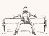 Woman seating on bench Vector Sketch Hand drawn illustration