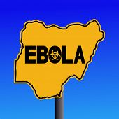picture of nigeria  - Danger Ebola biohazard Nigeria map sign on blue illustration - JPG