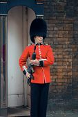 LONDON, UK - SEP 27: British Guard on duty on September 27, 2013 in London, UK. The ceremony is one