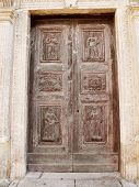 Front door of the Lanfranchi Palace. Matera. Basilicata.
