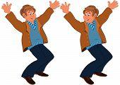 Happy Cartoon Man Standing In Brown Jacket Holding Hands Up