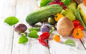 Healthy organic vegetable on wooden table, close-up.