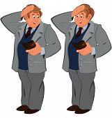 Happy Cartoon Man Standing In Gray Suite With Wallet