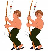 Happy Cartoon Man Standing In Green Pants Topless With Fishing Rod