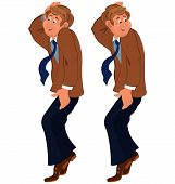 Happy Cartoon Man Standing On Tiptoe In Brown Jacket And Tie