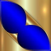 Vector abstract blue and golden metallic background