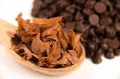 picture of bonbon  - shredded chocolate ingredient to prepare chocolate bonbons isolated on white - JPG