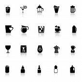 Variety Drink Icons With Reflect On White Background