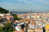 25 de Abril Bridge and Alfama, Lisbon, Portugal
