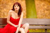 Woman Red Dress Sitting On Bench In Autumn Park
