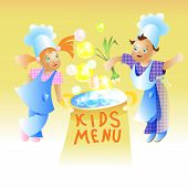 Kids Menu Card Design Child cartoon