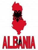 Albania map flag and text vector illustration