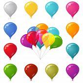 Colorful festive balloons set
