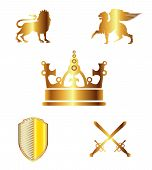 Heraldic silhouettes elements - icons of king, blazon, crown, lion, ribbon, sword