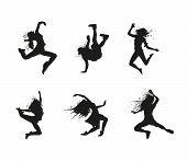 Vector Illustration Black Silhouetts dancingCrazy Girl Icon