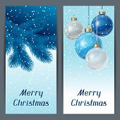 Holiday vertical banners template with christmas balls.