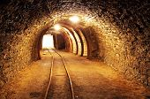 picture of gold mine  - Underground mine tunnel mining industry with light - JPG
