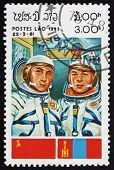 Postage Stamp Laos 1983 Cosmonauts And Flags