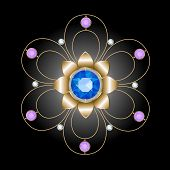 foto of brooch  - gold brooch in the form of openwork flower decorated sapphire - JPG