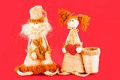 Soft Toy. Dolls Made Of Straw