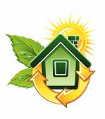 Symbol Of Ecological House With Solar Energy