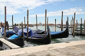 Venetian Landscape With Gondolas And Mooring Piles.