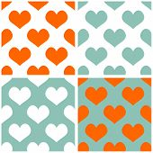 Seamless vector pastel hearts background set. Full of love tile pattern