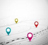 Topographic Map with Pin