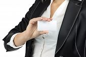 Image of business lady holding visit card