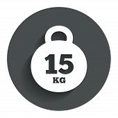 Weight sign icon. 15 kilogram (kg). Sport symbol