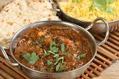pic of curry chicken  - Chicken saag masala curry with pilau rice and chapati - JPG