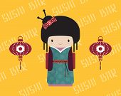 Kokeshi doll in kimono with traditional asian lantern, vector illustration.