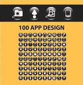 100 application design icons, signs, illustrations, silhouettes set, vector