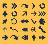 arrows icons, signs, illustrations, silhouettes set, vector