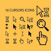 pixel cursors icons, signs, illustrations, silhouettes set, vector