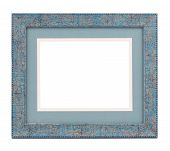 Blue wooden frame.