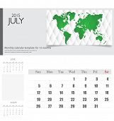 Simple 2015 calendar, July. Vector illustration.