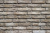 Background Of Grey Brick Wall Pattern Texture.