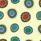 Seamless Pattern Vector With Abstract Flower